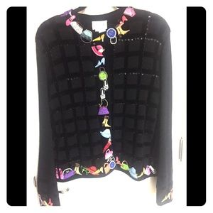 Just B Sequined/pearled/embroidered Cardigan sz L